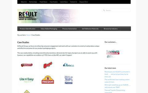 Screenshot of Case Studies Page resultgroup.com.au - Product packaging case studies - captured Oct. 8, 2014