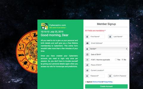 Screenshot of Signup Page cyberastro.com - CyberAstro Sign Up - captured July 25, 2019
