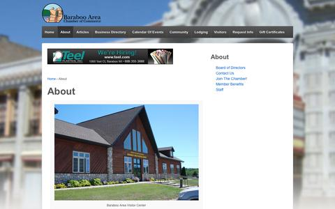 Screenshot of About Page baraboo.com - About | Baraboo Area Chamber of Commerce - captured Oct. 5, 2014