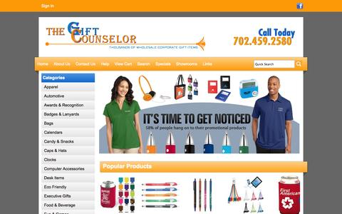 Screenshot of Home Page giftcounselor.com - The Gift Counselor   Las Vegas  Promotional Products - Home - captured Oct. 7, 2014