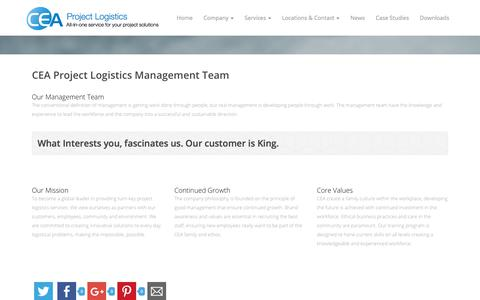 Screenshot of Team Page ceaprojects.com - Management - CEA Project Logistics - captured Sept. 25, 2018