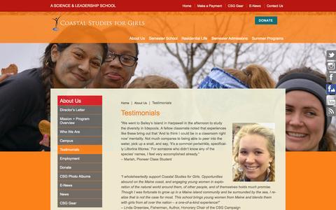 Screenshot of Testimonials Page coastalstudiesforgirls.org - Testimonials - Coastal Studies for Girls - captured Sept. 30, 2014