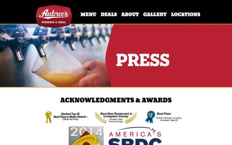 Screenshot of Press Page aubrees.com - Press | Aubree's Pizzeria and Grill - captured Feb. 6, 2016