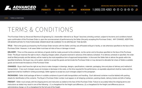 Screenshot of Terms Page ame.com - Terms & Conditions | Advanced Machine & Engineering Co. - captured Sept. 24, 2018