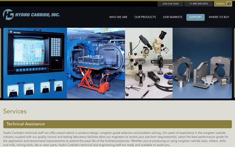 Screenshot of Services Page hydrocarbide.com - Services - Hydro Carbide Inc. - captured July 19, 2016
