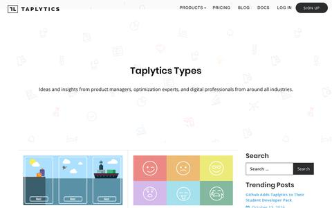 Screenshot of Blog taplytics.com - Ideas and Insights From Optimization Experts   Taplytics Blog - captured March 10, 2018