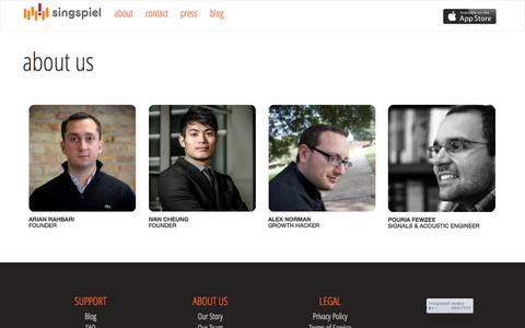 Screenshot of Team Page singspiel.ca - About Signspiel | Our Company Story - captured Sept. 17, 2014