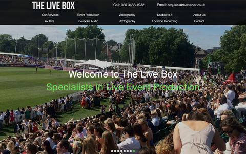 Screenshot of Home Page thelivebox.co.uk - London PA System Hire & Event Production Company - The Live Box - captured Nov. 10, 2017