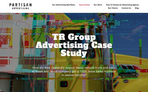 Screenshot of Case Studies Page partisanadvertising.co.nz - TR Group Advertising Case Study | Auckland Advertising Agency | Partisan Advertising - captured July 16, 2018