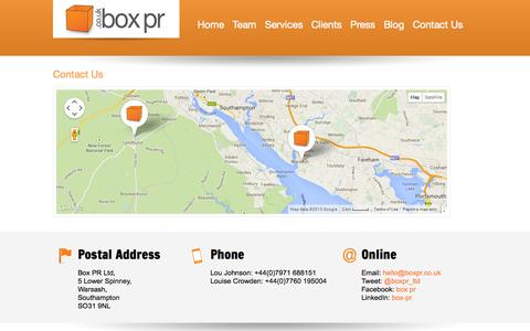 Screenshot of Contact Page boxpr.co.uk - Box PR   » Contact Us - captured Sept. 30, 2014