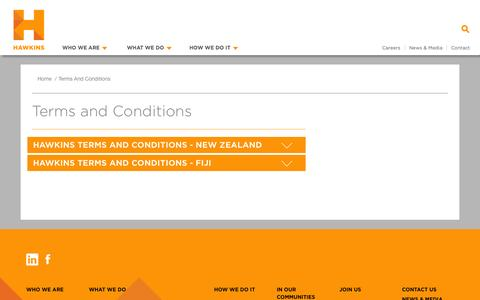 Screenshot of Terms Page hawkins.co.nz - Terms and Conditions   Hawkins - captured Nov. 1, 2014
