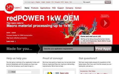 Screenshot of Home Page spilasers.com - SPI Lasers | Fiber Lasers For Cutting, Welding And Marking - captured Sept. 17, 2014