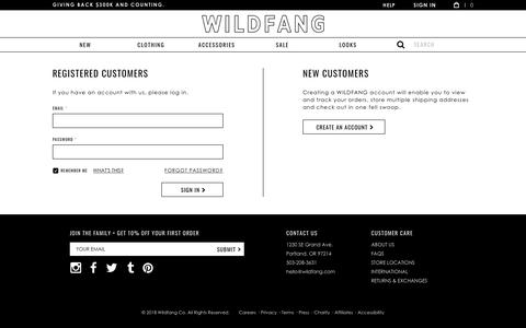 Screenshot of Login Page wildfang.com - Customer Login - Style + Culture for the Modern Feminist - captured July 13, 2018