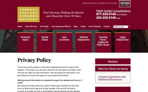 Screenshot of Privacy Page tremontsheldon.com - Privacy Policy | Tremont Sheldon Robinson Mahoney, P.C. | Bridgeport, Connecticut - captured Oct. 7, 2014