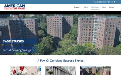 Screenshot of Case Studies Page americanutilityconsultants.com - Case Studies - American Utility Consultants - captured July 30, 2018