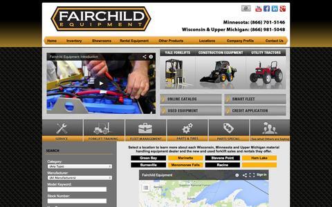 Screenshot of Locations Page fairchildequipment.com - Wisconsin & Minnesota Forklift Dealer | Rental Lift Trucks, New & Used Material Handling Equipment Sales - captured Sept. 30, 2014
