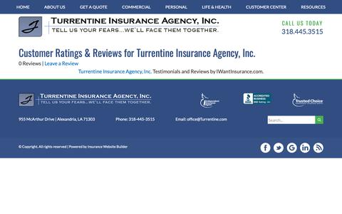 Screenshot of Testimonials Page turrentine.com - Customer Testimonials & Reviews - Turrentine Insurance Agency, Inc. - captured Nov. 16, 2018