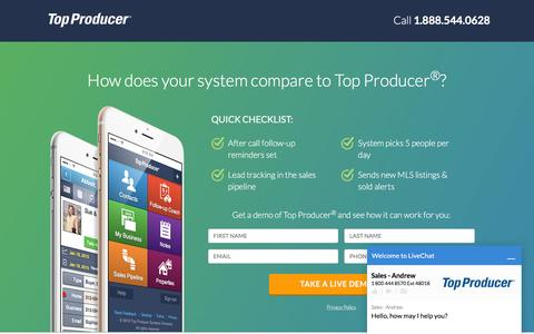 Screenshot of Landing Page topproducer.com - Top Producer® | How does your system compare to Top Producer® - captured May 23, 2016