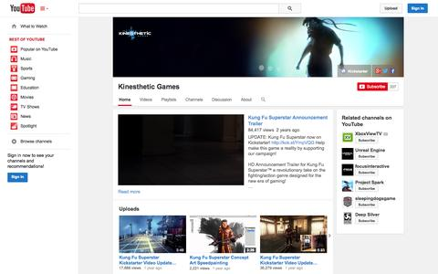 Screenshot of YouTube Page youtube.com - Kinesthetic Games  - YouTube - captured Oct. 23, 2014