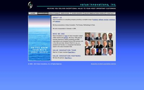 Screenshot of About Page valueinnovations.com - v a l u ei n n o v a t i o n s, i n c. - captured Oct. 7, 2014