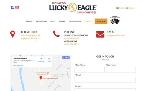 Screenshot of Contact Page luckyeagletexas.com - Kickapoo Lucky Eagle Casino Hotel in Eagle Pass, Texas! | Contact Us - captured Oct. 15, 2018