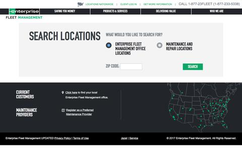 Screenshot of Locations Page efleets.com - Enterprise Fleet Management, Maintenance & Repair Locations Near You - captured April 2, 2018