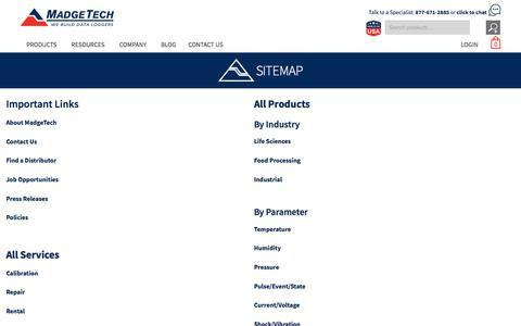Screenshot of Site Map Page madgetech.com - Sitemap | MadgeTech - captured Sept. 1, 2019