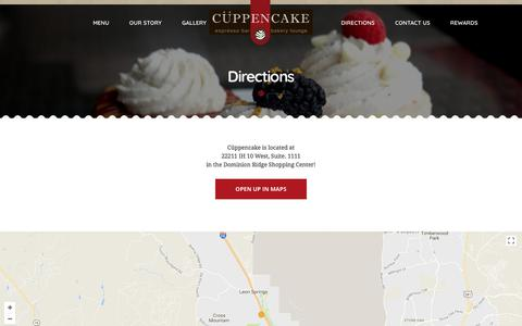 Screenshot of Maps & Directions Page cuppencake.com - Directions - Cuppencake - captured Sept. 19, 2017