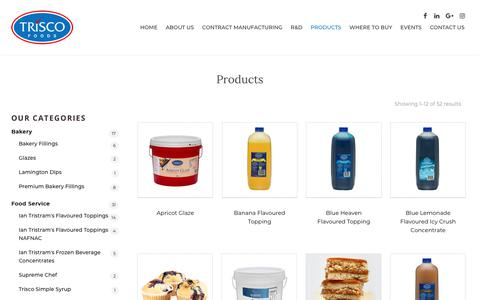 Screenshot of Products Page triscofoods.com.au - Products Archive - Trisco Foods - captured Nov. 18, 2018