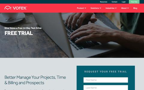 Screenshot of Trial Page vorex.com - Free Trial | Project Management Software | Vorex - captured Nov. 24, 2015