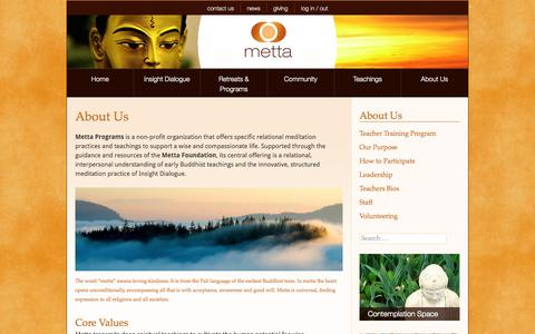 Screenshot of About Page metta.org - Metta Programs - About Us - captured Oct. 27, 2014
