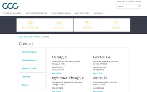 Screenshot of Contact Page Locations Page cccis.com - CCC Information Services Locations - captured July 3, 2018