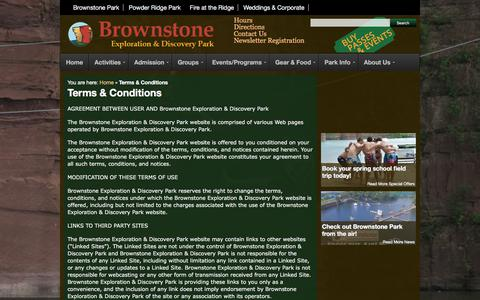Screenshot of Terms Page brownstonepark.com - Terms & Conditions | Brownstone Park Connecticut - Zip Lines, Wakeboards, Rock Climb, Water Slides and Toys, Scuba and Swim - captured Oct. 7, 2017