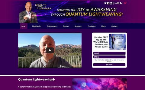 Screenshot of Home Page kenjikumara.com - Kenji Kumara - Spiritual leader using Quantum Lightweaving - captured April 14, 2016