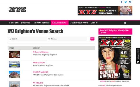 Screenshot of Locations Page xyzmagazine.co.uk - Browse locations at XYZ Magazine, Brighton's Best Entertainment & Event Listings Magazine... | XYZ Brighton Magazine - captured Dec. 18, 2016