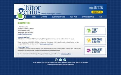 Screenshot of Contact Page thetutorgenius.com - Contact Tutor Genius : Tutoring Services Contact - captured Oct. 9, 2014