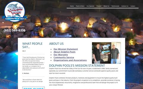 Screenshot of About Page dolphinpools.us - Pool Builders : Swimming Pools Builder in Phoenix : Landscaping Phoenix, Arizona : DolphinPools.us - captured Oct. 23, 2018