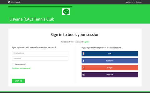 Screenshot of Login Page clubspark.uk - ClubSpark / Account / Sign in - captured Nov. 29, 2018