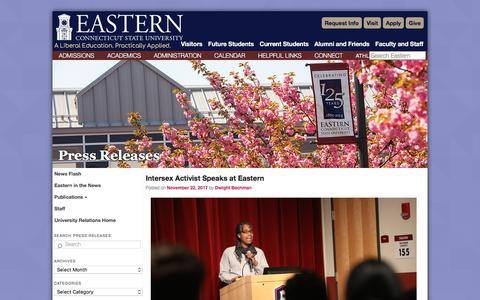 Screenshot of Press Page easternct.edu - Press Releases   Eastern Connecticut State University - captured Nov. 23, 2017