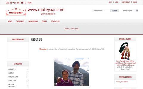 Screenshot of About Page muteyaar.org - About Us Muteyaar - The Oldest Punjabi Online Shopping Store, Buy the Best !! - captured July 7, 2018