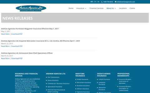 Screenshot of Press Page andrewagencies.com - News Releases | Andrew Agencies - captured Oct. 8, 2017