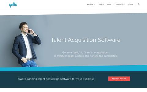Screenshot of Home Page yello.co - Yello Talent Acquisition Software For Recruiters | Yello - captured March 13, 2016