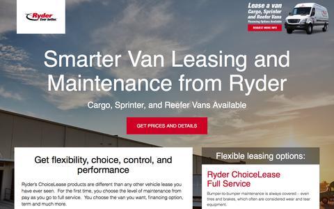 Screenshot of Landing Page ryder.com - Flexible Van Leasing Solution - Ryder - captured May 17, 2018