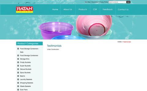 Screenshot of Testimonials Page ratanplastics.com - Welcome to Ratan Plastics - captured Oct. 9, 2014