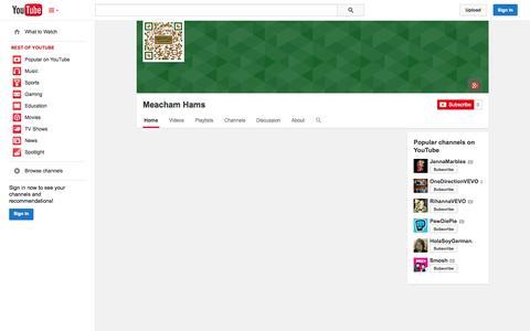 Screenshot of YouTube Page youtube.com - Meacham Hams  - YouTube - captured Oct. 27, 2014