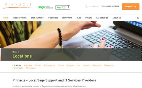 Screenshot of Locations Page pinnacle-online.com - Pinnacle Sage Business Partner Sage Support UK & Ire... - captured Sept. 28, 2018