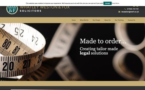 Screenshot of Home Page wwf.co.uk - Whatley Weston & Fox Solicitors | Law Firm | Worcester - captured Oct. 19, 2018