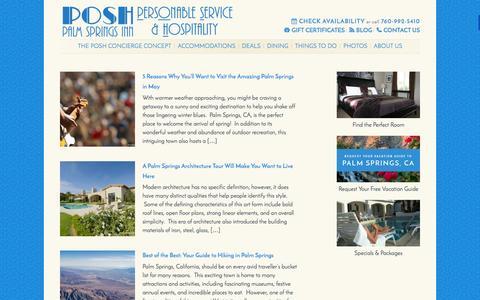Screenshot of Blog poshpalmsprings.com - POSH Palm Springs, CA Travel Blog | POSH Palm Springs Inn - captured Jan. 23, 2016