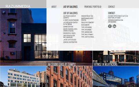Screenshot of Menu Page razummedia.com - RAZUMMEDIA - Architectural Photography - captured Nov. 4, 2014