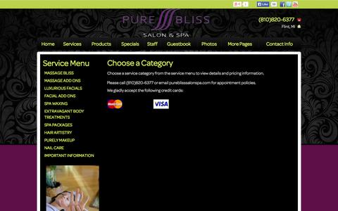 Screenshot of Services Page pureblisssalonspa.com - Pure Bliss Hair Salon Day Spa massage, facial, haircut, hair color, manicure, pedicure, body treatment, waxing, hair style Grand Blanc, Fenton, Flint - captured Oct. 3, 2014